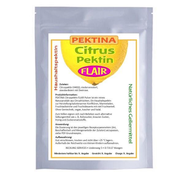 PEKTINA Citruspektin FLAIR Pulver, 500 g, niederverestert, natürliches Pektin zum Einkochen, für zuckerarme oder zuckerfreie Marmelade, Gelee und Desserts, ohne Gentechnik, koscher, halal und vegan.