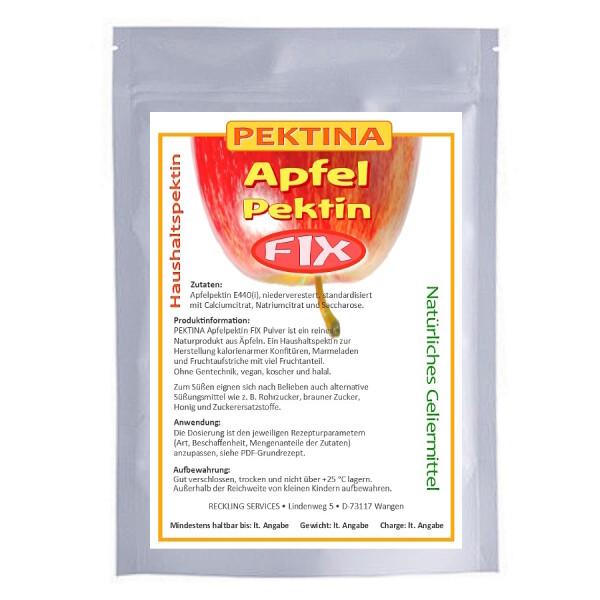 PEKTINA Apfelpektin FIX Pulver, 1 kg, niederverestert, natürliches Pektin zum Einkcohen, für zuckerfreie oder zuckerarme Marmelade und Gelee, ohne Gentechnik, koscher, halal und vegan.
