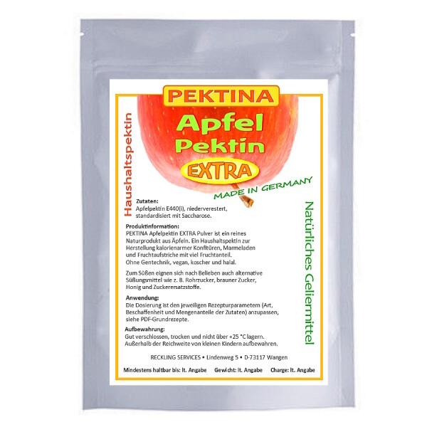 PEKTINA Apfelpektin EXTRA Pulver, 200 g, niederverestert, natürliches Pektin zum Einkcohen, für zuckerfreie oder zuckerarme Marmelade, Gelee und Fruchtaufstriche, ohne Gentechnik, koscher, halal und vegan.